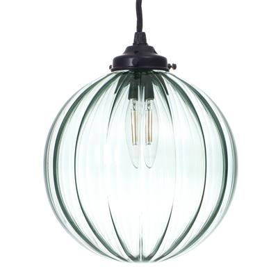 Fulbourn Greeny Blue Glass Pendant in Matt Black