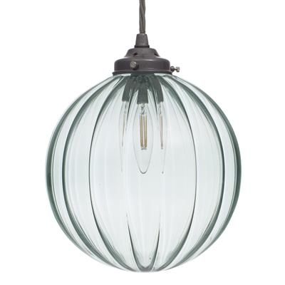 Fulbourn Greeny Blue Coloured Glass Pendant Light in Polished