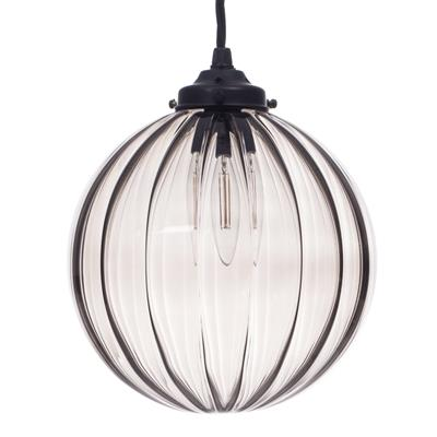Fulbourn Charcoal Glass Pendant in Matt Black
