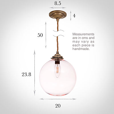 Holborn Dusky Pink Glass Pendant in Antiqued Brass