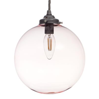 Holborn Dusky Pink Coloured Glass Pendant Lightin Polished