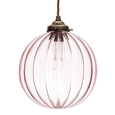 Fulbourn Dusky Pink Pendant in Antiqued Brass