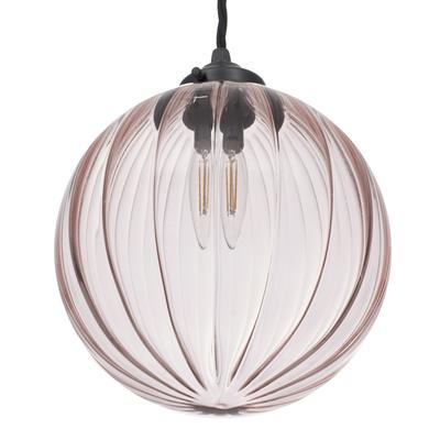 Fulbourn Dusky Pink Glass Pendant in Matt Black