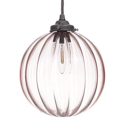 Fulbourn Dusky Pink Glass Pendant in Polished