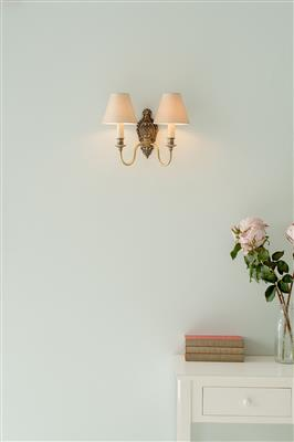 Double Hambleton Wall Light in Antiqued Brass