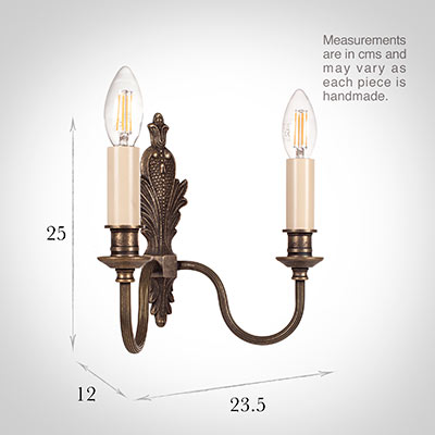 Double Rialto Wall Light in Antiqued Brass