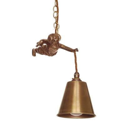 Brass Cherub Pendant Light in Antiqued Brass