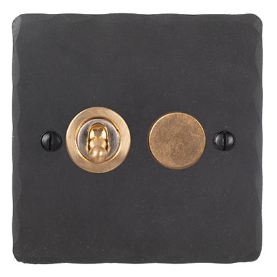 2 Gang Brass Dolly/Rotary Dimmer Switch BeeswaxHammered Plate