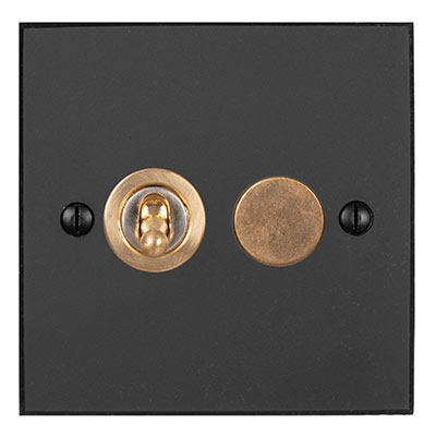 2 Gang Brass Dolly/Rotary Dimmer Switch BeeswaxBevelled Plate