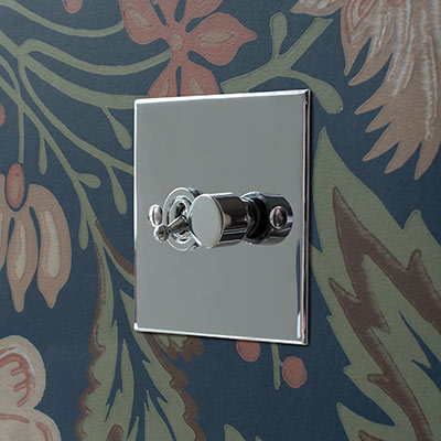 2 Gang Chrome Dolly/Rotary Dimmer Switch Nickel Bevelled Plate