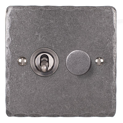 2 Gang Steel Dolly/Rotary Dimmer Switch PolishedHammered Plate