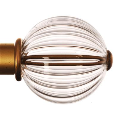 Fluted Glass Ball Finial for 38mm Pole in Old Gold(discontinued, only stock shown available)