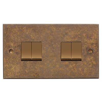 4 Gang Brass Rocker Switch Antiqued Brass BevelledPlate (discontinued, only stock shown available)