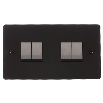 4 Gang Steel Rocker Switch Beeswax Hammmered Plate(discontinued, only stock shown available)