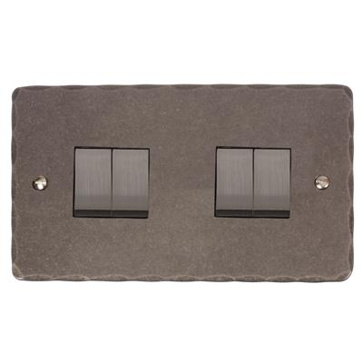 4 Gang Steel Rocker Switch Polished Hammered Plate(discontinued, only stock shown available)