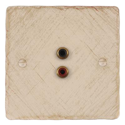 1 Gang Audio Visual Outlet Old Ivory Hammered Plate