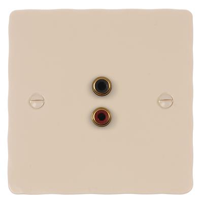 1 Gang Audio Visual Outlet Plain Ivory HammeredPlate
