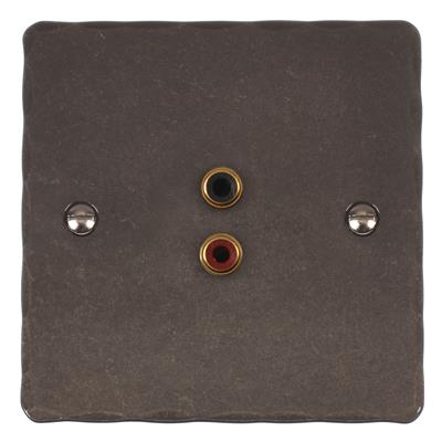 1 Gang Audio Visual Outlet Polished Hammered Plate