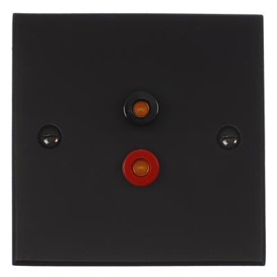 Audio Speaker Socket Matt Black Bevelled Plate