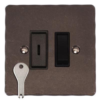 1 Gang Black Grid Key Switch Polished Hammered Plate