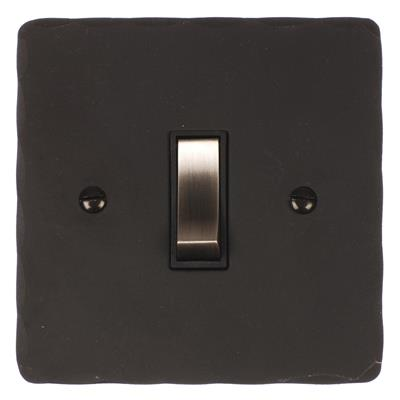 1 Gang Steel Retractive Grid Switch Beeswax Hammered Plate