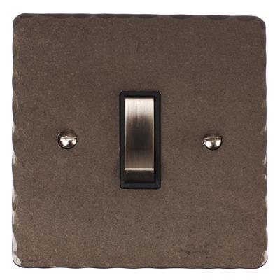 1 Gang Steel Retractive Grid Switch PolishedHammered Plate