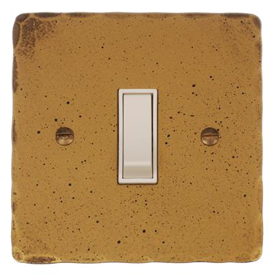 1 Gang White Two Way & Off Switch Old GoldHammered Plate