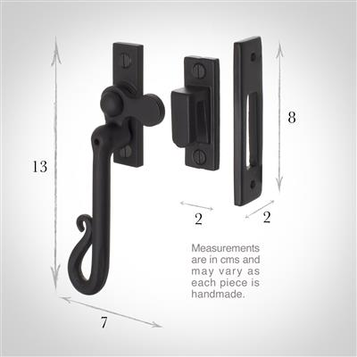 Shepherd's Crook Lockable Window Latch (Right Side) in Matt Black