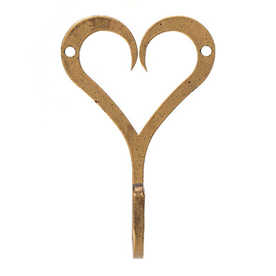 Forged Heart Hook in Old Gold