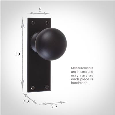 Holkham Door Knob, Bristol Plain Plate, Matt Black