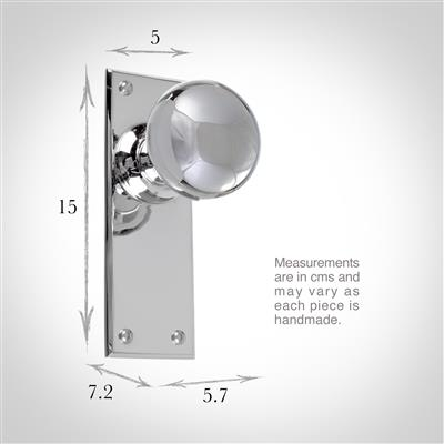 Holkham Door Knob, Bristol Plain Plate, Nickel