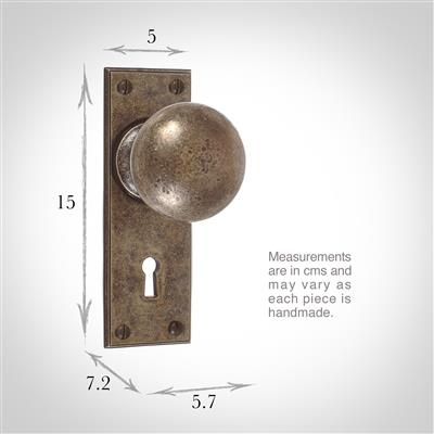 Holkham Door Knob, Ripley Keyhole Plate, Antiqued Brass