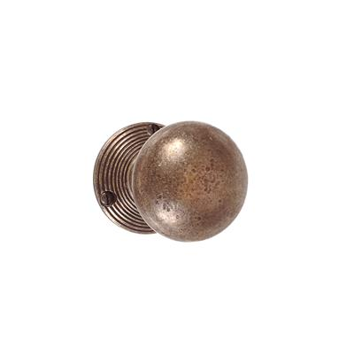 Holkham Door Knob, Reeded Plate, Antiqued Brass