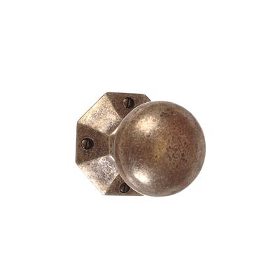 Holkham Door Knob, Shaftesbury Plate, AntiquedBrass