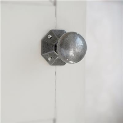 Holkham Door Knob, Shaftesbury Plate, Polished