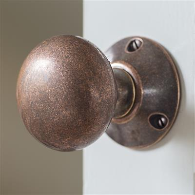 Holkham Door Knob, Rowley Plate, Heritage Copper