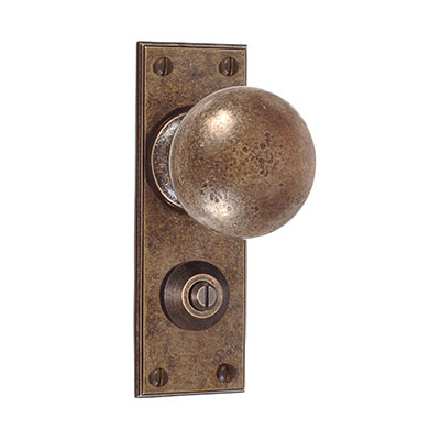 Holkham Door Knob, Ripley Privacy Plate, AntiquedBrass