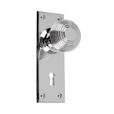 Reeded Door Knob, Bristol Keyhole Plate, Nickel