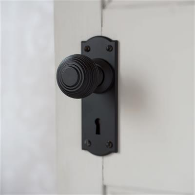 Reeded Door Knob, Nowton Keyhole Plate, Matt Black
