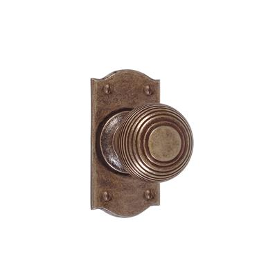 Reeded Door Knob, Nowton Short Plate, Antiqued Brass