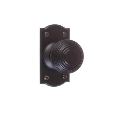 Reeded Door Knob, Nowton Short Plate, Matt Black