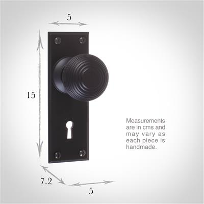 Reeded Door Knob, Ripley Key Plate, Matt Black