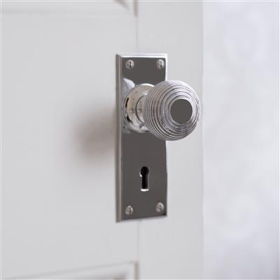 Reeded Door Knob, Ripley Key Plate, Nickel