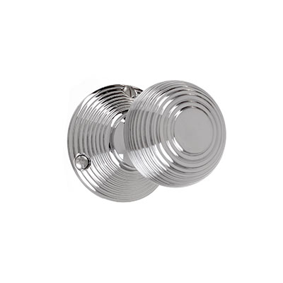 Reeded Door Knob, Reeded Plate, Nickel