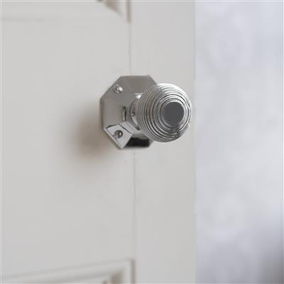 Reeded Door Knob, Shaftesbury Plate, Nickel