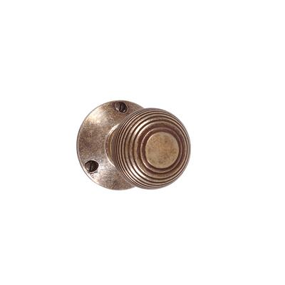 Reeded Door Knob, Rowley Plate, Antiqued Brass