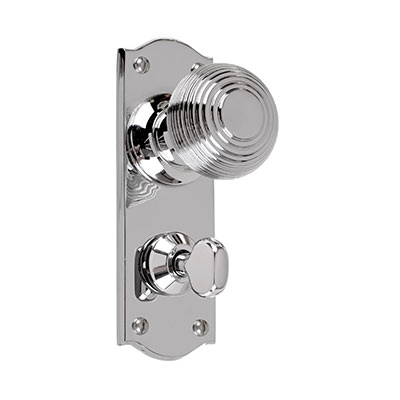 Reeded Door Knob, Nowton Privacy Plate, Nickel