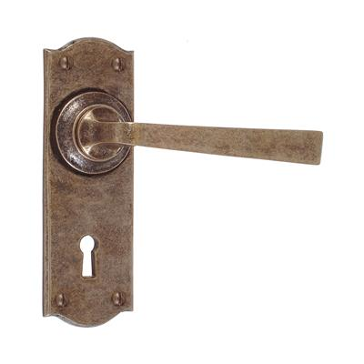 Manson Handle, Nowton Keyhole Plate, Antiqued Brass