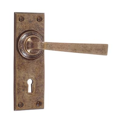 Manson Handle, Ripley Keyhole Plate, Antiqued Brass