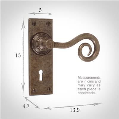 Curled Handle, Bristol Keyhole Plate, Antiqued Brass